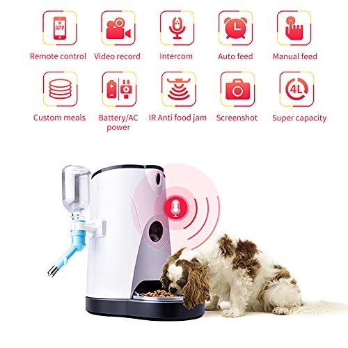 Distributore Automatico Cibo E Acqua Alimentatore Automatico Per Animali Domestici Con Telecamera Wi-Fi HD In Tempo Reale Per Cani/Gatti,Voce A Due Vie,Timer Programmabile Per APP Telefoni Cellulari