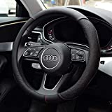 LUYED ハンドルカバー Mサイズ ハンドル外径37.5~38.9㎝のミニバン 1BOX RV 乗用車 軽自動車 ステアリングカバー 革製