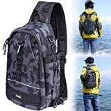 PLUSINNO Fishing Tackle Backpack Storage Bag,Outdoor Shoulder Backpack,Fishing Gear Bag,Water-Resistant Fishing Backpack with Rod Holder (Large(16.511.85.5inch)-Black Camo)