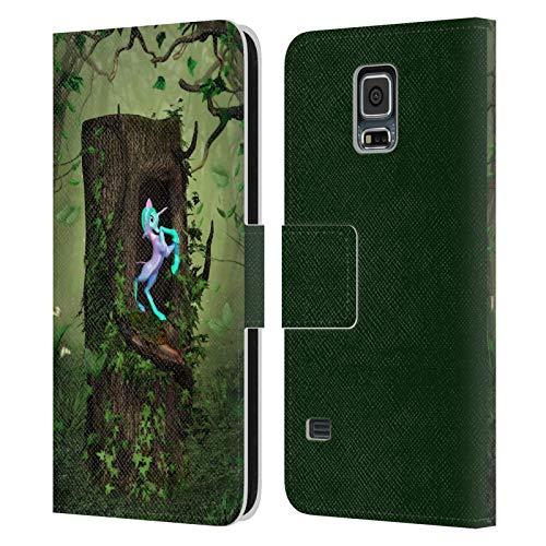 Head Case Designs Licenza Ufficiale Simone Gatterwe Legno Segreto Terre E Posti Cover in Pelle a Portafoglio Compatibile con Samsung Galaxy S5 / S5 Neo