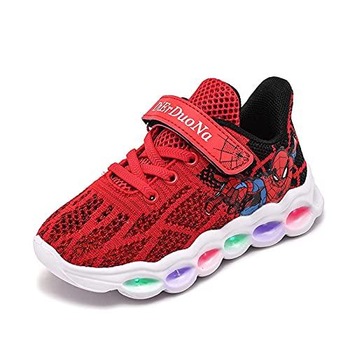 HAOYUXIN Zapatillas de Deporte de Dibujos Animados de Spiderman para niños Zapatos Casuales Transpirables de Malla de luz LED,Red-35EU