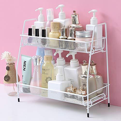 Spice Rack Organizer for Countertop, 2 Tier Bathroom Shelf, Desktop Makeup Organizer, Small Storage Rack for Kitchen, Bath Room, Bedroom and Office (White)
