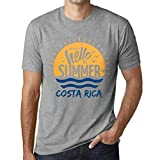 Hombre Camiseta Vintage T-Shirt Gráfico Time To Say Hello To Summer In Costa Rica Gris Moteado
