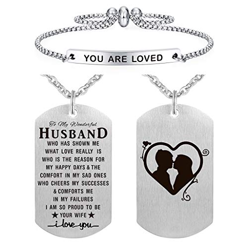 ABBNT to My Husband Boyfriend Fiance Necklace Jewelry Gifts Dog Tag, Couples Jewelry Gifts, Valentines Anniversary Birthday Gifts for Men Him, I Love You, Necklace for Him Silver