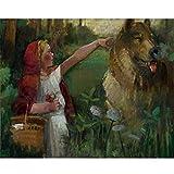 Pintura por Kits de números DIY Pintura al óleo De Lona Preimpresos Niña y lobo feroz Seniors niños Adultos Estudiantes Principiantes Pared Lienzo Arte para decor Regalos (Sin marco,60x75cm/24x30inch)