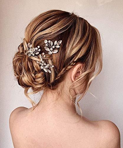 Unicra Pasadores para el pelo de novia, de cristal, para novia, accesorios para el cabello para mujeres y niñas, paquete de 3 (plata)
