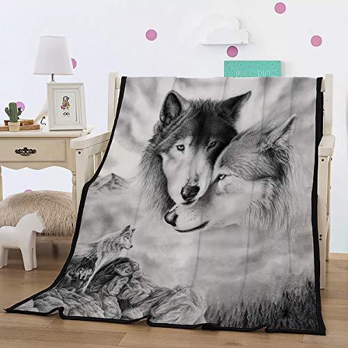WONGS BEDDING Kuscheldecke Flanell Fleecedecke 3D Wolf Wohndecke 150x200 cm Sofadecke Couchdecke Bettüberwurf Flauschige Weiche& Warme Sofaüberwurf Decke-Weiß&Schwarz