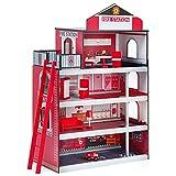 GOPLUS Kinder Feuerwache mit Rutschstange, Puppenhaus Set mit Feuerwehrauto, Hubschrauber, Möbeln &...