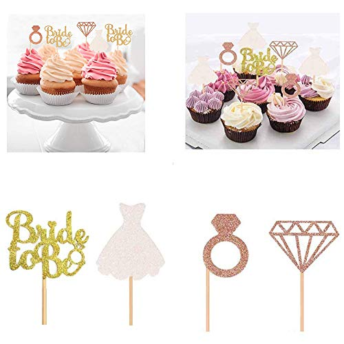 FunMove 24 pieces Bride To Be Cake Cupcake Toppers 3D Diamond Ring Wedding Dress Rose Gold Glitter For Bridal Shower Bachelorette Hen Party Decorations (Rose Gold)
