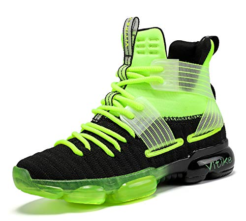 JMFCHI Boys Basketball Shoes Kids Sneakers High-top Sports Shoes Durable Lace-up Non-Slip Running Shoes Secure for Little Kids Big Kids and Girls Size 3 Green