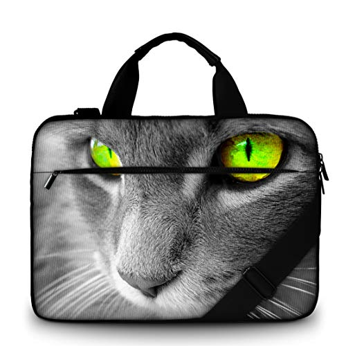 Moderne notebooktas van canvas, stevige laptoptas met handvat, riem met ritssluiting, waterafstotende laptoptas met accessoires, multicolor van Funky Planet Bags Cases 47 x 34 x 3, 44 x 31 x 2 gray cat