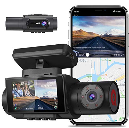 AQP Dual Dash cam, 4K Single Front Camera 2560P Front and 1080P Inside Cabin Dash Camera, with WiFi GPS, Infrared Night Vision Support 128GB Dual Sony Sensor Parking Mode G Sensor for Uber & Lyft