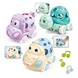 ZMZS Rattle and Roll Car for Toddlers, Push and Go Toy with Soft Rubber Rattle 3 PCS, Friction Powered Vehicle Infant Learning Gift for 6-12 Months Old Boys Girls Baby