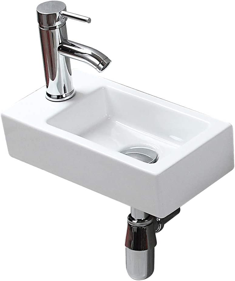 Buy Modern Bathroom White Rectangle Wall Mount Hung Porcelain Ceramic Small Sink Wash Art Basin Vessel Vanity Without Overflow Faucet Drain For Cloakroom Lavatory Toilet Left Hand Online In Turkey B07v73ym3b