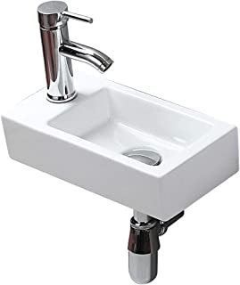 Modern Bathroom White Rectangle Wall Mount Hung Porcelain Ceramic Small Sink Wash Art Basin Vessel Vanity without Overflow&Faucet&Drain for Cloakroom Lavatory Toilet (Left Hand)