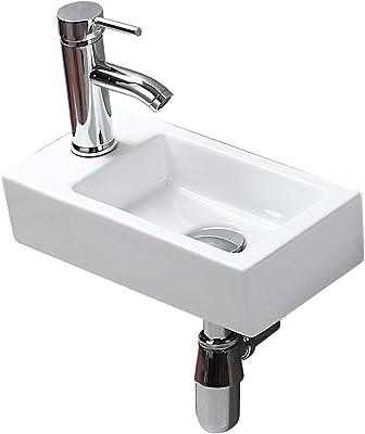 Color : No accessories Wash Basin Wash Basin Lavabo En C/éRamique Domicile,Vasque /À Poser Rectangulaire,avec Robinet Cascade /À Poser La Salle De Bain 39x41x18cm