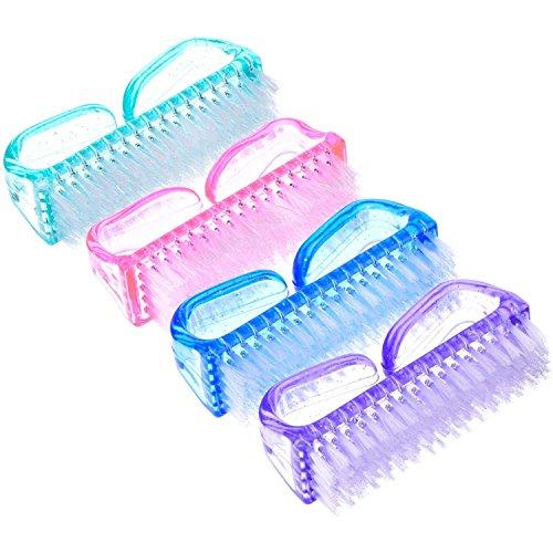 BIGBOBA Lot de 4 brosses à ongles en plastique (bleu, rose, violet, vert) 8,2 cm