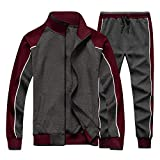 Mens Tracksuit Set Full Zip Top and Jogger Pants Warm Sports Suit Grey X-Large