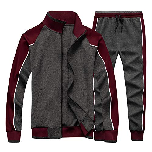 Men Long Sleeve Jogging Suit Zipper Top Tracksuit Sport Set Casual Comfy Sweatsuits with Pockets Grey XX-Large