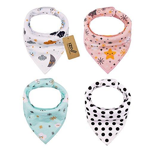 iZiv Baberos del Bebé - Paquete de 4 Diseños Pañuelo con Snaps Ajustables, TPU Impermeable Guarnición para niño 0-2 años (Color-6)