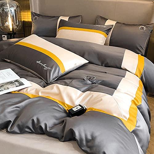 Funda Nordica Cama 180,Soft Golden Duvet Funda Paisley Damask Design Jacquard Duvet Funda Conjunta Silk Luxury Ropa De Cama Conjunto Con Funda De Almohada King TamañO Para Home Hotel-A_1,8 M De Cama