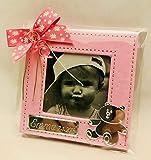 Marcos fotos para invitados bautizo niña GRABADOS PERSONALIZADOS pequeños bebe (pack 12 unidades) portafotos rosas