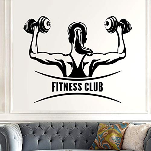 Tianpengyuanshuai Calcomanía de Fitness Vinilo calcomanía de Pared Mural Fitness Crossfit Encontrar calcomanía Muscular Gym sticker55X69cm