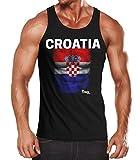 MoonWorks EM Tanktop Herren Fußball Kroatien Croatia Flagge Fanshirt Waschbrettbauch Muskelshirt schwarz L