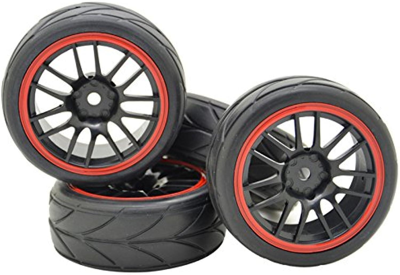 4PCS Black Wheels Rims Tires Tyres Arrow 1 10 RC Car 26mm Wide 14 Spoke Off Road Vehicle