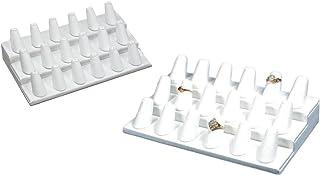 N'ice Packaging جلد أبيض، 18 إصبع (8.25 بوصة × 4.75 بوصة × 2.5 بوصة ارتفاعًا) عرض خاتم الإصبع متعدد الخواتم