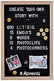Gadgy® Filz Letter Board | Mit 15 Emojis, 10 Fotoclips, 4 Fotoecken, 340 golden & 340 weiße...
