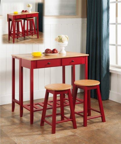 Kings Brand Furniture 3 Piece Kitchen Island Breakfast Bar Set Drop Down Table & 2 Stools
