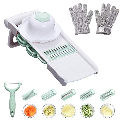 WORTHBUY Mandoline Slicer with Cut-Resistant Gloves, Hand Protector and Peeler - Multi Blade Adjustable Mandolin Vegetable Slicer and Potato Chips Cutter, Food Slicer, Vegetable Julienne(Green)