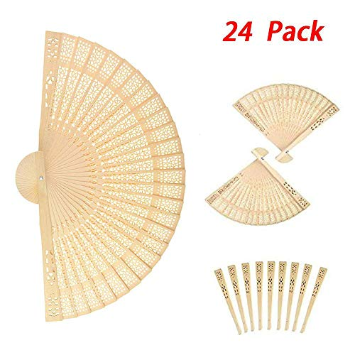6MILES 24 Pcs Chinese Sandalwood Scented Wooden Openwork Personal Hand Held Folding Fans for Wedding Decoration Birthdays Home Gift
