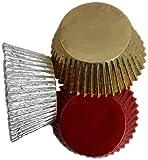Scrumptious 51 x 38 mm, con Revestimiento de Aluminio para Cupcakes con Papel de Ciclismo, Color Rojo, Dorado y Plateado