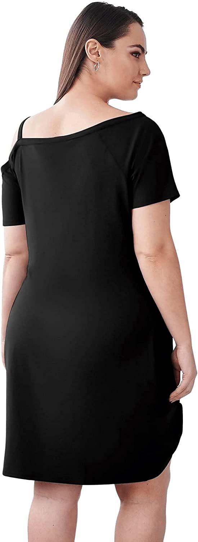 Milumia Women's Plus Size Asymmetrical Neck Twist Hem Short Sleeve Short Dress