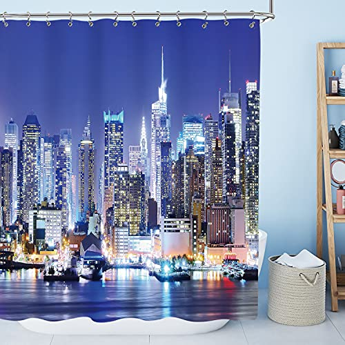 AMBZEK New York City Skyline Shower Curtain Cityscape Night NYC Modern Style Building Bright Lights Artwork Cloth Fabric Bathroom Decor Set with 12 Pack Hooks 60x71 inch, Colorful