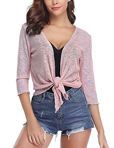 Abollria Womens 3/4 Sleeve Sheer Shrug Tie Front Cropped Bolero Cardigan Pink