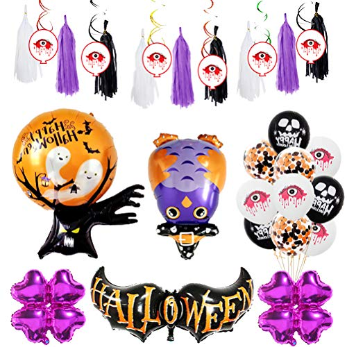 Amosfun Happy Halloween Balloons Set Wizard Latex Balloons Owl Foil Balloon Halloween Party Supplies Decoración Photo Booth Atrezzo