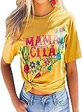 CORAFRITZ Camisetas de verano casuales de cuello redondo para mujer, camisetas estampadas de flores, holgadas