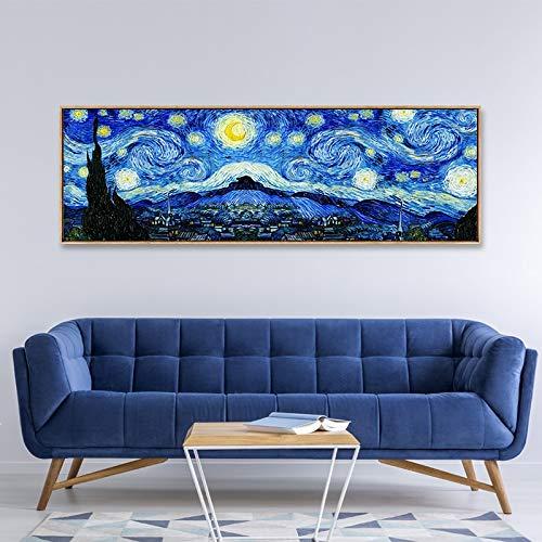 Klassische Van Gogh abstrakte Drucke Leinwand Wandkunst PrintWall Artwork Leinwand Poster und Drucke Bilder für Wohnzimmer Home Decoration-Rahmenlose Malerei175x50cm