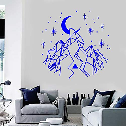 guijiumai Diseño Geometría Vinilo Tatuajes de Pared Montañas Crescent Stars Decoración para el hogar Etiqueta de Arte Sofá Fondo Pared Mural Decorativo L 1 84X87 CM
