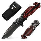 Klappmesser, Jellas J-001 3-in-1 Outdoor Messer mit Titaniumklinge aus 7Cr17 Edelstahl, Taschenmesser & Survival Messer mit Aluminiumgriff &...