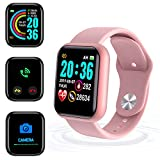 Smartwatch,Reloj Inteligente Impermeable IP65, Swimming Waterproof Smartwatch Fitness Tracker Fitness Watch Heart Rate Monitor Smart Watches, para Hombres Mujeres Niños Compatible iPhone Android-Pink