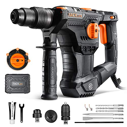 TACKLIFE 1 Inch Rotary Hammer Drill, SDS-Plus Chuck & 1/2 Keyless Chuck, Heavy Duty Demolition Hammer, 1020RPM, 4 Functions, Vibration Damping Technology, Used for Concrete Metal and Stone - TRH02A