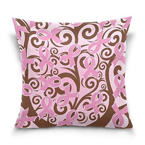 yoshop campaña contra el cáncer de mama rosa lazos 18'x18funda de cojín cuadrado con cremallera fundas de almohada (dos lados)