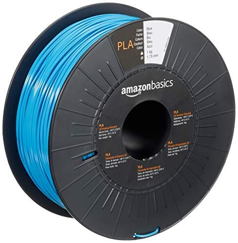 Amazon Basics - Filamento para impresora 3D, ácido poliláctico (PLA), 1.75 mm, cinta de 1 kg, azul