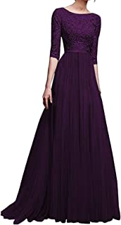 Women Wedding Party Long Dress, Ladies Solid O-neck Long Sleeve Evening Party Maxi Dress