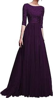 Women Chiffon Lace Hollow Bridesmaid Long Maxi Prom Backless Long Evening Dress