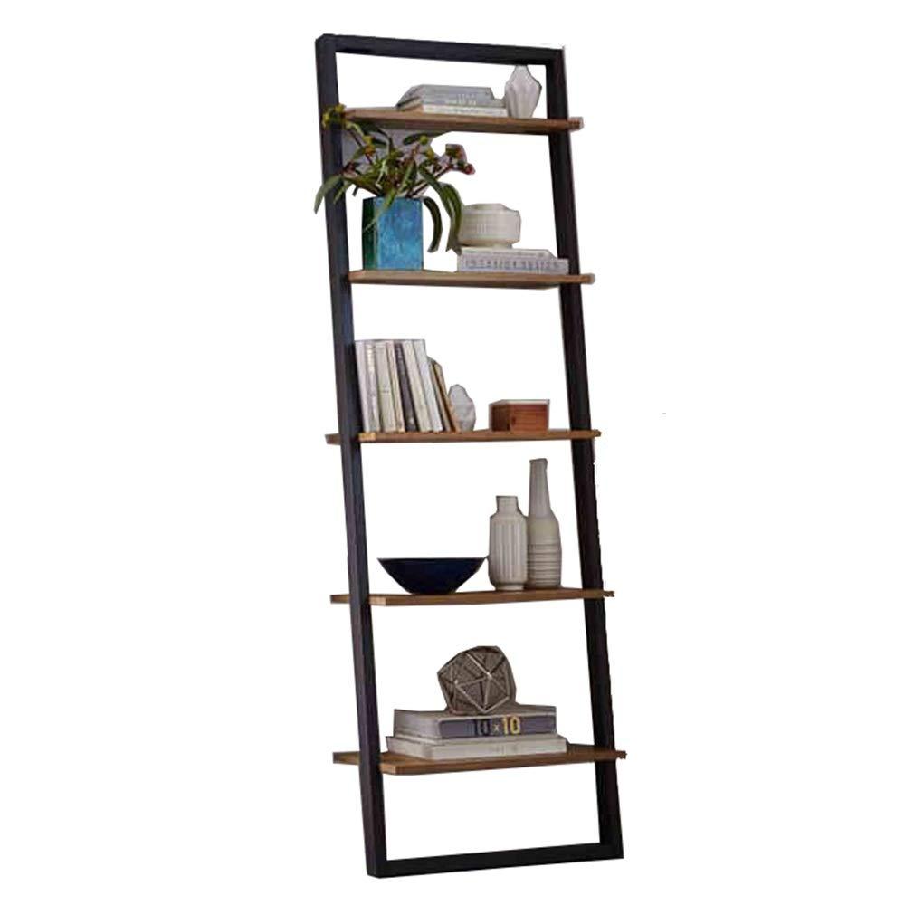 Libreria 5-Tier Escalera Estante Estantería de almacenamiento en rack estantes Look Estable inclinado apoyado en la pared Estante de almacenamiento grande (Color : Amarillo , tamaño : 70x38x190cm) : Amazon.es: Hogar